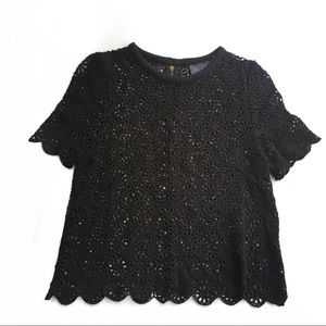 ASTR Black Crochet Eyelet Top Size Small